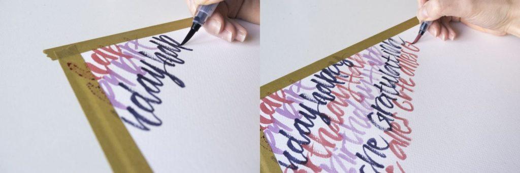 eine einfache Gestaltung eines Geschenksets mit Handlettering