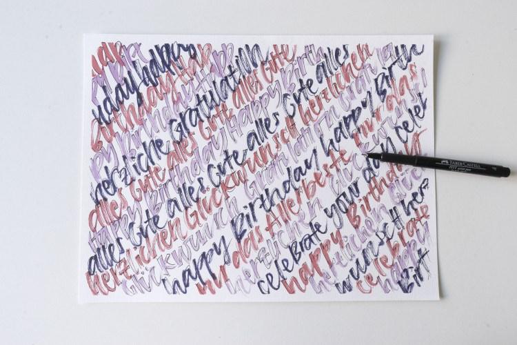 Handlettering für eine Geburtstagskarte mit dichten Lettering