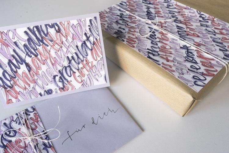 mit Handlettering ein Geschenkset gestalten - einfache Schritt für Schritt Anleitung