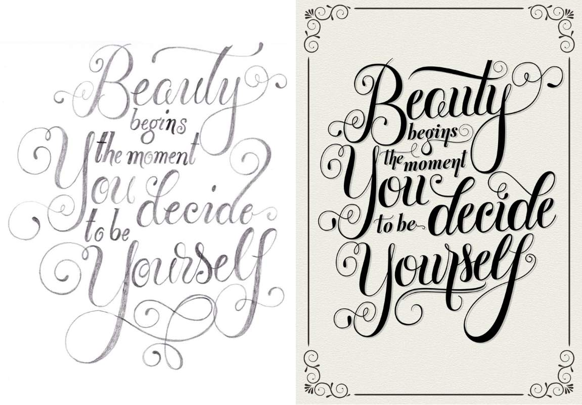 Beauty begins the moment you decide to be yourself - Handlettering