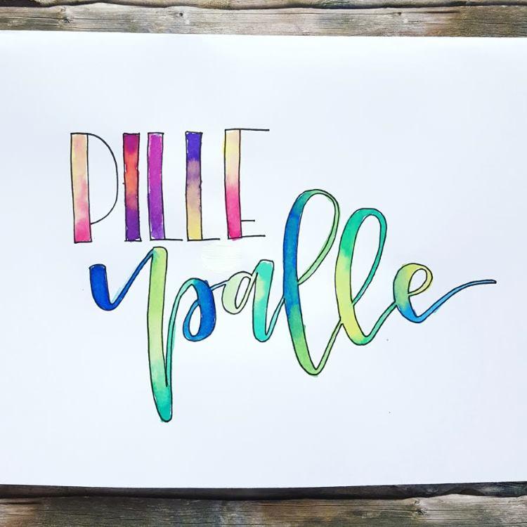 Pille Palle - buntes Handlettering mit Farbverlauf