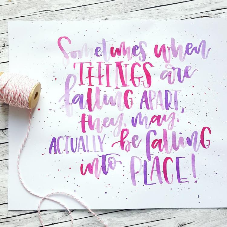 Watercolor Lettering in pink und violett