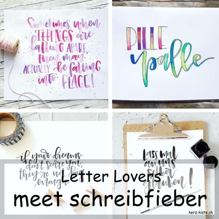 Collage von mehrerern Letterings von schreibfieber als Titelbild für den Interview Beitrag