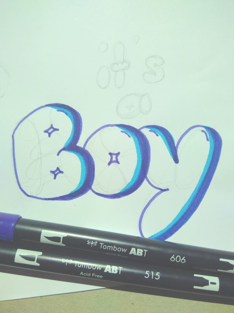 it's a Boy - Kaugummi Buchstaben Lettering