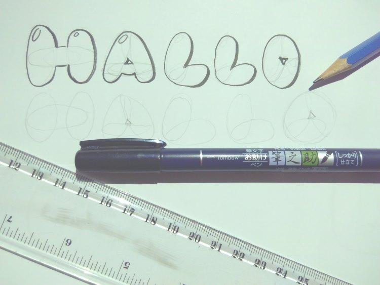 Hallo - Anleitung für Kaugummi Buchstaben Lettering