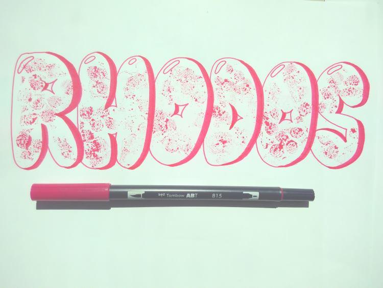Rhodos - buntes Handlettering mit Kaugummi Buchstaben