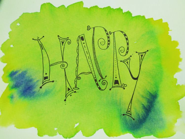Happy - Doodle Handlettering mit Aquarell Hintergrund
