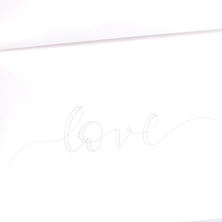 love - Handlettering in Faux Calligraphy für ein Ribbon Lettering