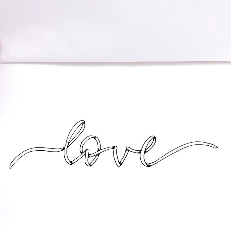 love - einfaches Ribbon Lettering selber machen