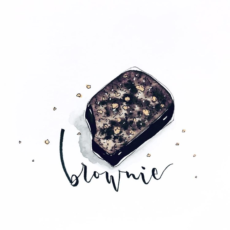Brownie - Aquarell mit Handlettering