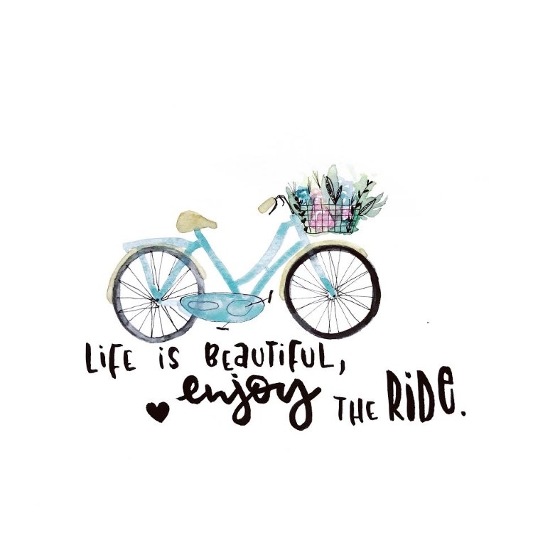Lettering mit Aquarell Fahrrad: life is beautiful, enjoy the ride