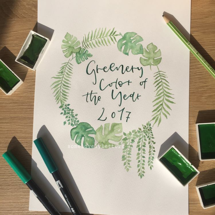 greenery color of the year 2017 - Lettering mit Blumenkranz
