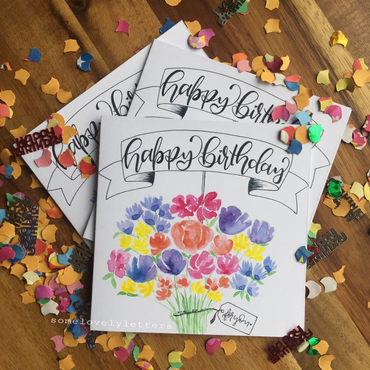 Happy Birthday - Geburtstagskarte mit Aquarell Blumenstrauss und Konfetti
