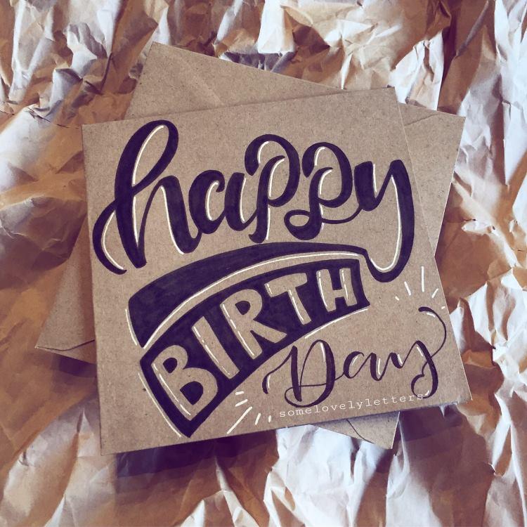 Geburtstagskarte schwarz weiss auf Kraftpapier