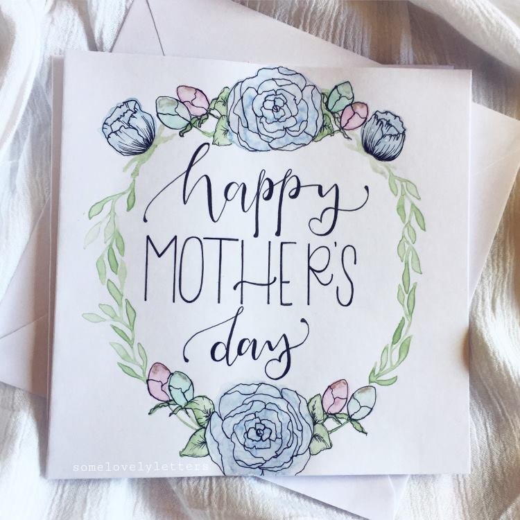 happy mother's day - Handlettering mit Blumenkranz