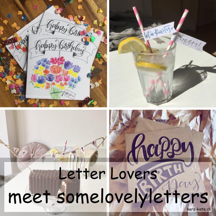 Zusammenstellung mehrerer Letterings von somelovelyletters als Titelbild fürs Interview rund ums Handlettering