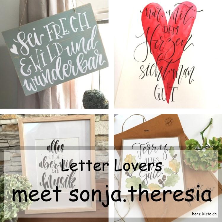 Collage von mehreren Letterings von sonja.theresia als Titelbild zum Lettering Interview der Letter Lovers