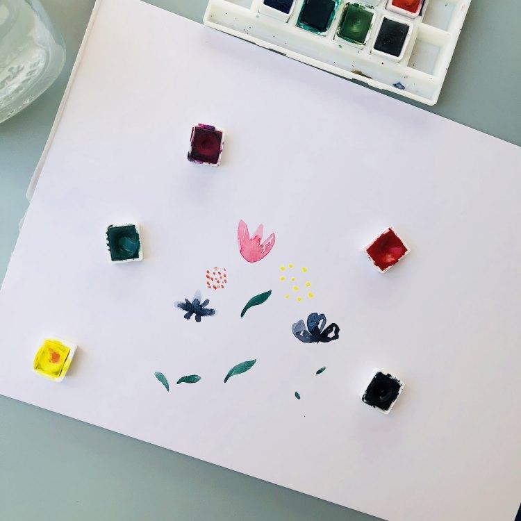 Schritt 1 um einfache Aquarellblumen zu malen