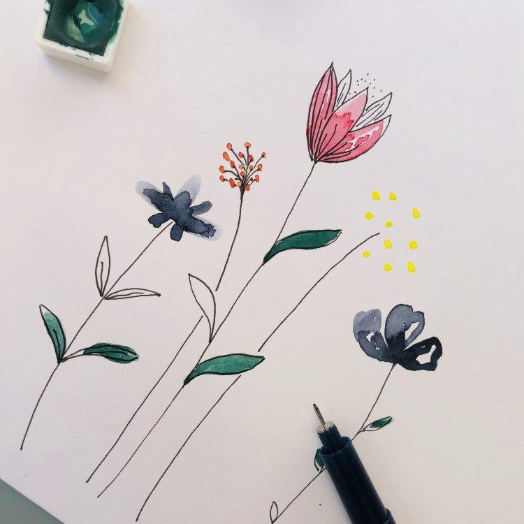 einfache Aquarellblumen malen - noch nicht ganz fertig