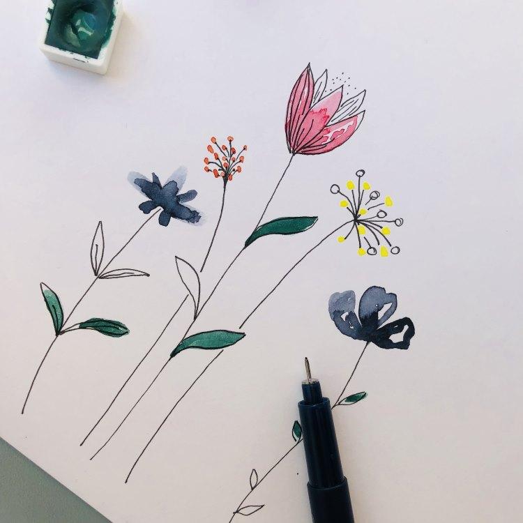 einfache Aquarellblumen - Zwischenbild