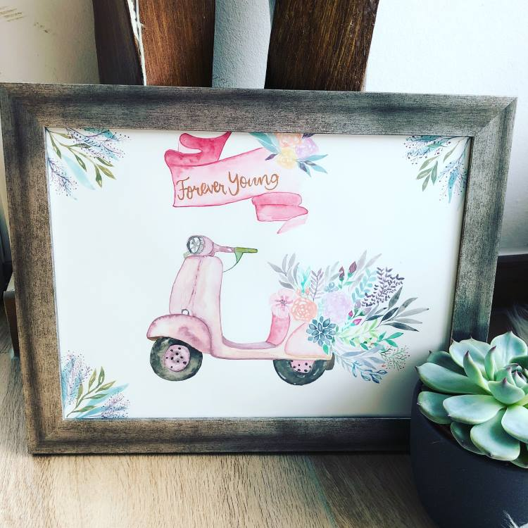 forever young - Handlettering mit Aquarell Blumen und Mofa