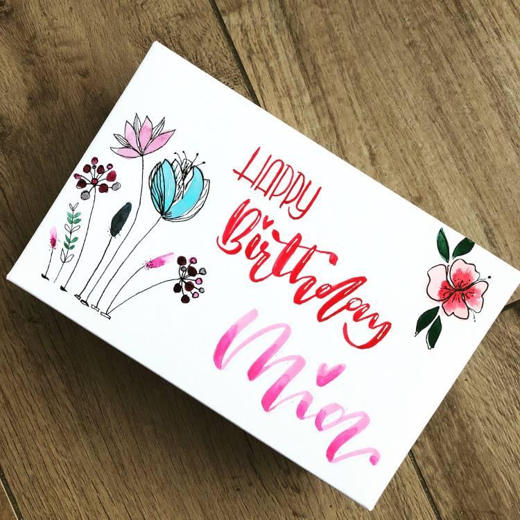Handlettering Geburtstagskarte mit Aquarellblumen
