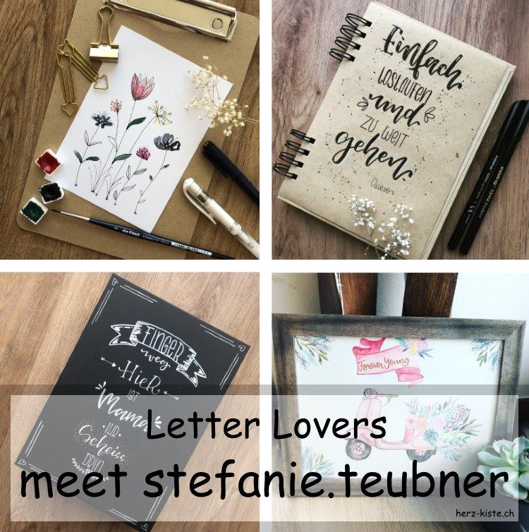 Titelbild für das Lettering Interview mit stefanie.teubner - verschiedene Handletterings