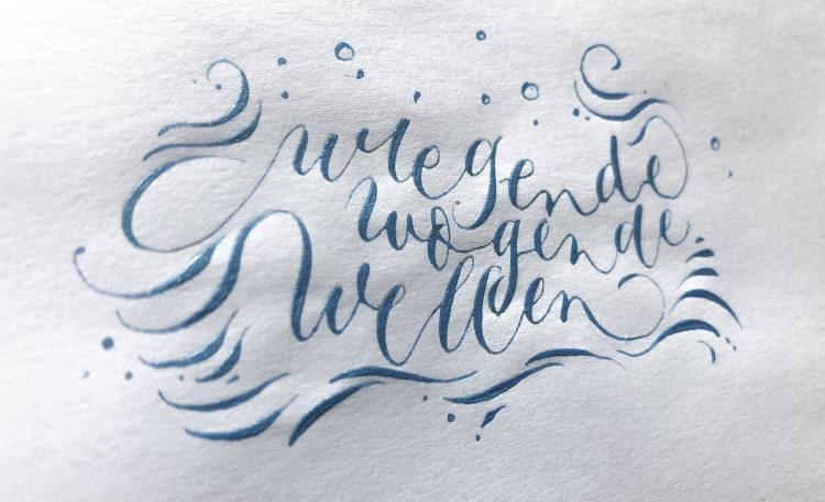 wiegende wogende Wellen - ein Kalligrafie Wellenbild