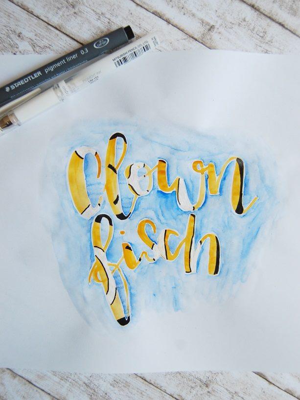 Handlettering in Farben - Clownfish