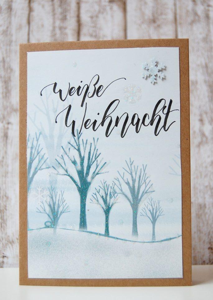 weisse Weihnacht - Weihnachtskarte mit Handlettering
