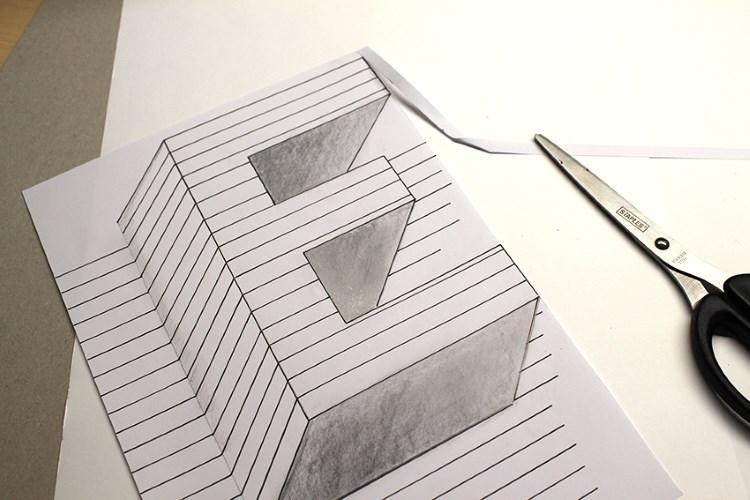 so gestaltest du eine optische Illusion vom Buchstaben E - richtig schneiden