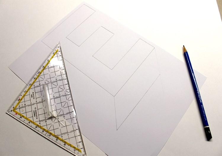 Buchstabe E in Blockschrift mit Schatten