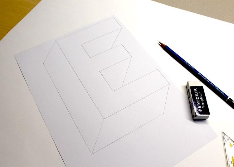 Buchstabe E - eine optische Illusion gestalten