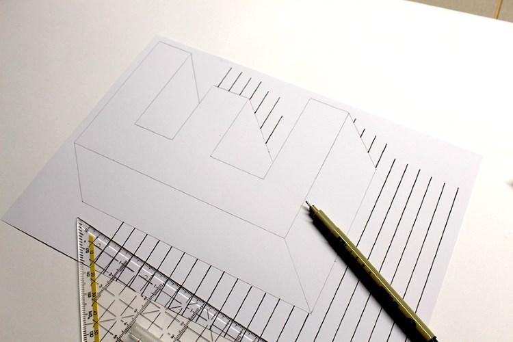 Buchstabe E in einer optischen Illusion gestalten - viele Linien ziehen