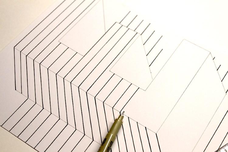 Detailaufnahme - optische Illusion eines Buchstabens