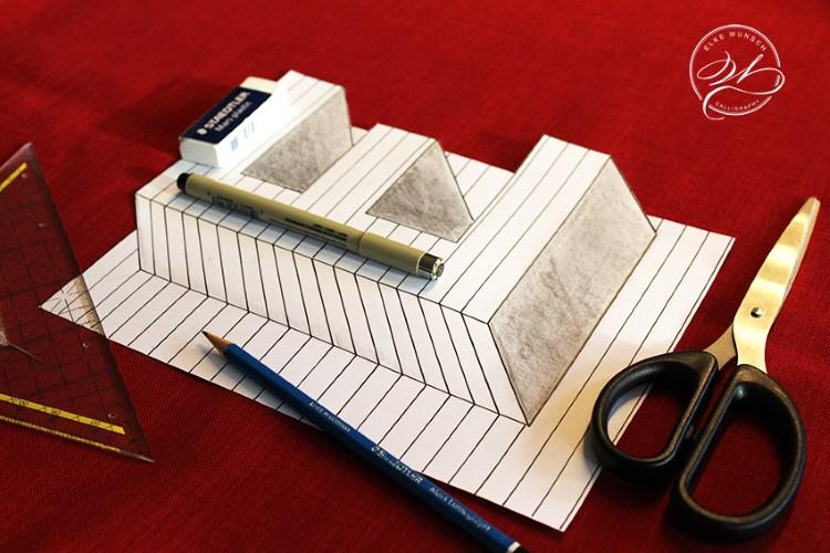 optische Illusion - Buchstabe E so gestalten, dass er dreidimensional aussieht