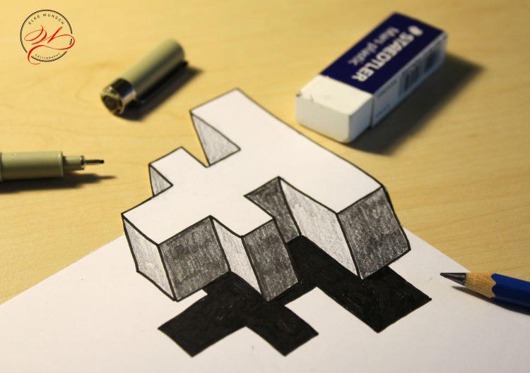 optische Illusion vom Buchstaben F selbst gezeichnet und gelettert