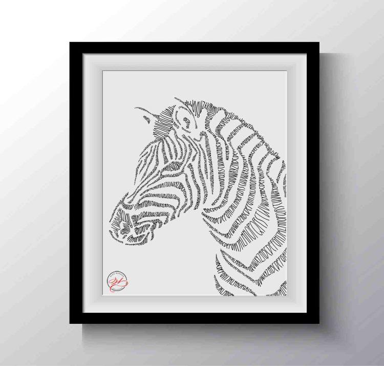Lettering in Form eines Zebras