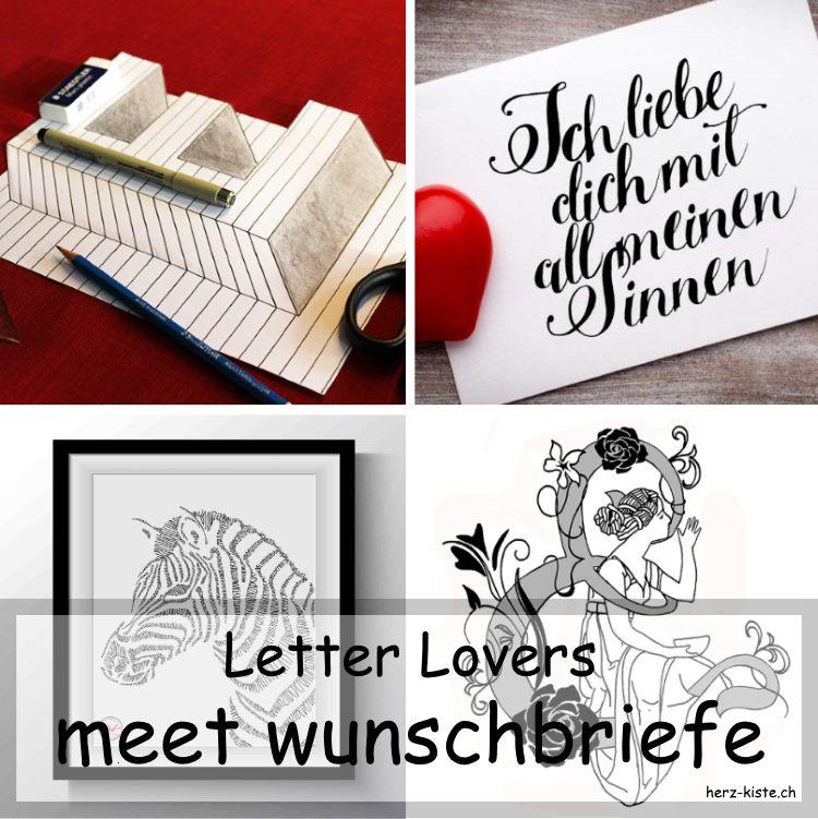verschiedene Letterings in einer Collage von wunschbriefe