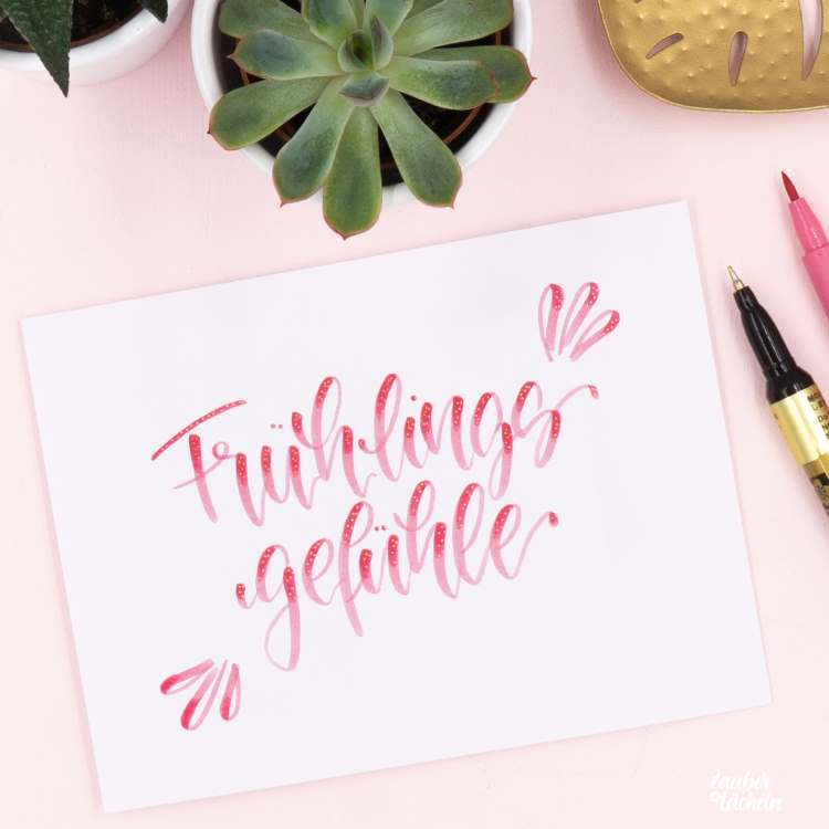 pinkes Lettering: Frühlingsgefühle