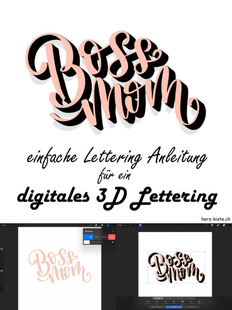 Boss Mom - hier findest du eine einfache Lettering Anleitung für ein digitales 2D Lettering mit Procreate auf dem iPad