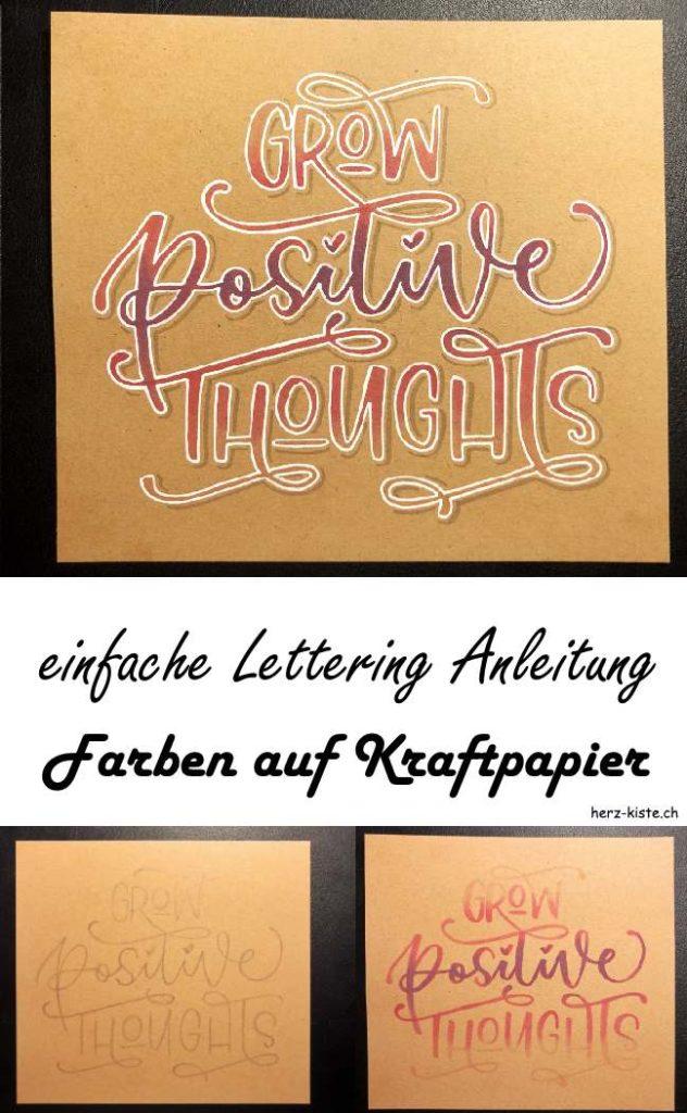 einfache Schritt für Schritt Anleitung: So gestaltest du ein farbiges Lettering auf Kraftpapier, auch mit hellen Farben! Werde kreativ und gestalte selber ein wunderbares Lettering mit dieser einfachen Anleitung.