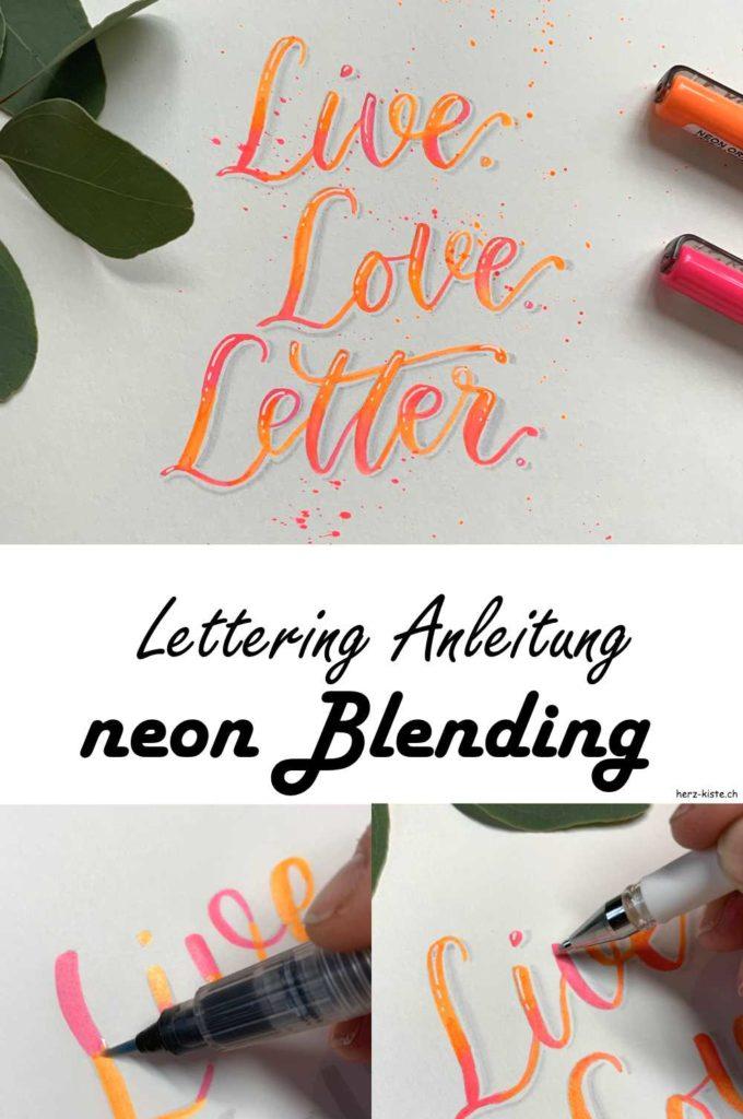 Lettering Anleitung für ein neon Blending - so rückst du deine neon Stifte ins richtige Rampenlicht und gestaltest ein Lettering welches unübersehbar ist!