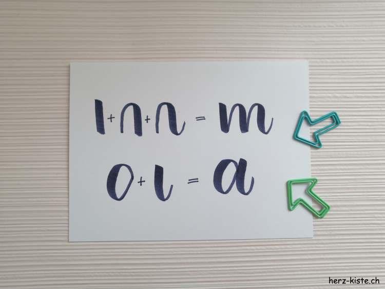 Buchstaben werden beim Handlettering zusammengesetzt aus Grundformen - Beispiel Buchstaben m und a
