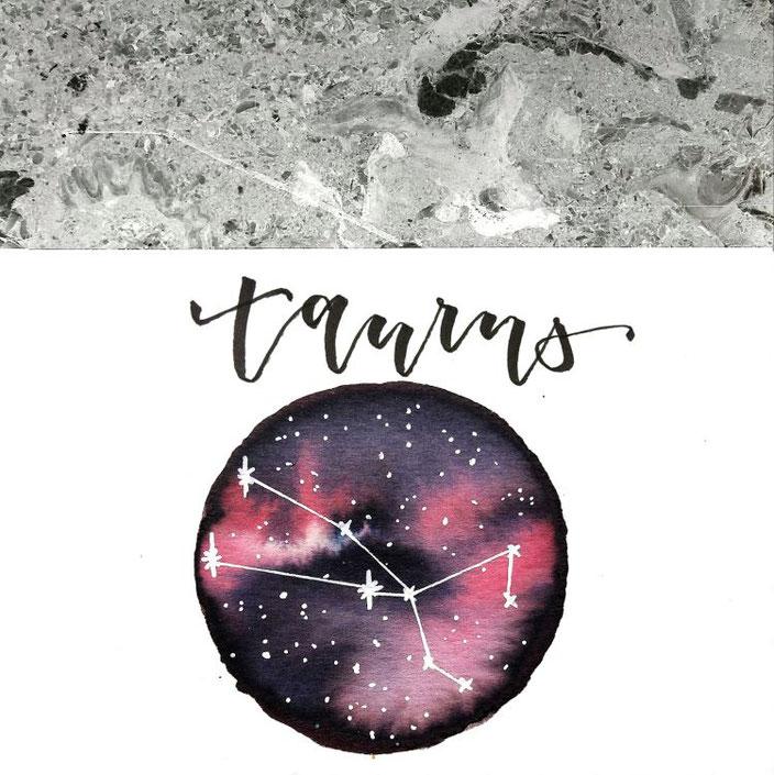 taurus - Handlettering mit Mond Galaxy