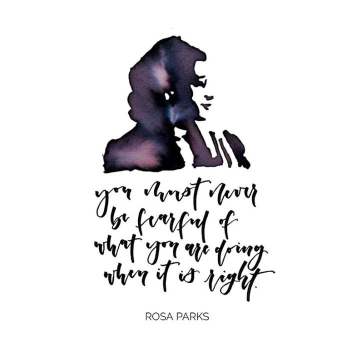 Handlettering mit einem Zitat von Rosa Parks