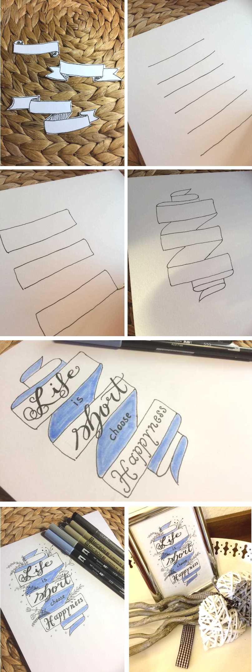 bebilderte Anleitung um einen Banner zu zeichnen für dein Lettering