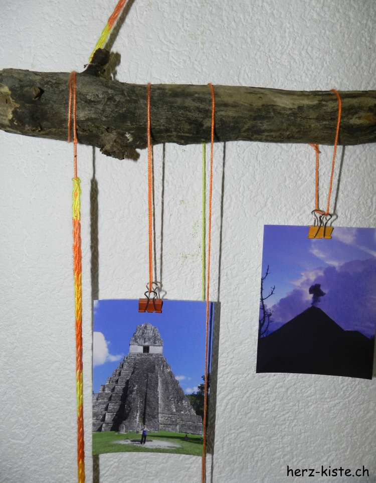 Fotos an Ästen aufgehängt