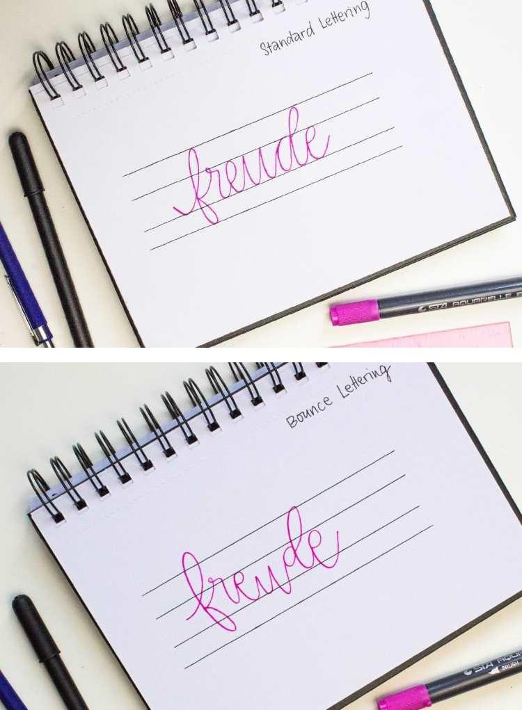 Unterschied Standard Lettering und Bounce Lettering