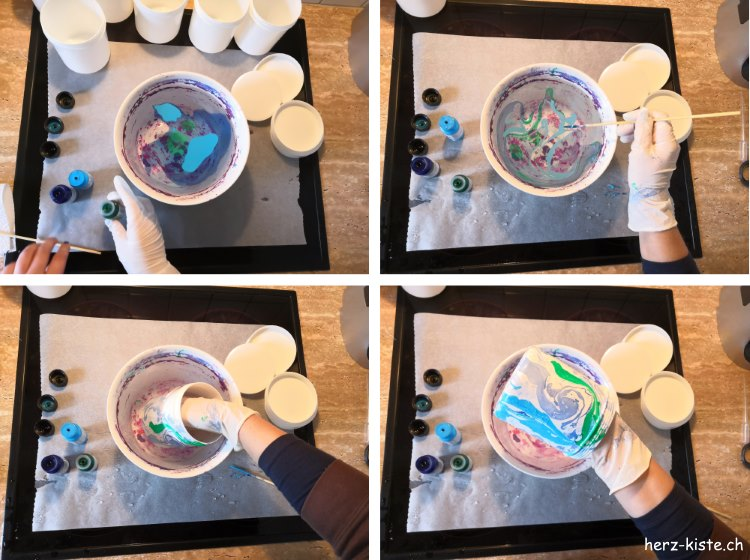 so marmorierst du mit Marmorierfarben Dosen für einen selbstgemachten Adventskalender